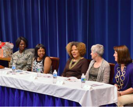 Yvette Kaufman-Bell (center), addresses a question during the Women's Leadership Panel at Kirtland March 24. (Air Force photo by Jamie Burnett)